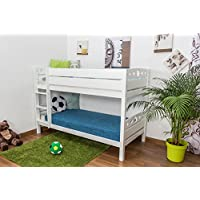 Etagenbett/Spielbett Rene Buche massiv weiß lackiert, inkl. Rollrost - 90 x 200 cm, teilbar preisvergleich bei kinderzimmerdekopreise.eu
