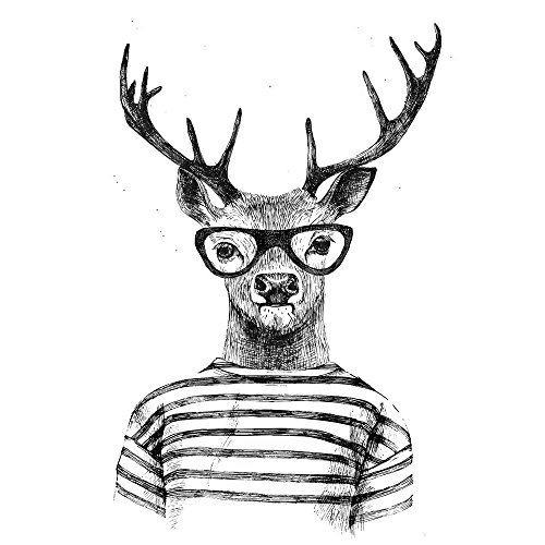 Pitaara Box PB Dressed Up Deer In Hipster Style Peel & Stick Vinyl Wall Sticker 24 x 35.5inch