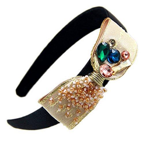 cristal Artesanat bandeau élégant hairband, champagne bowknot