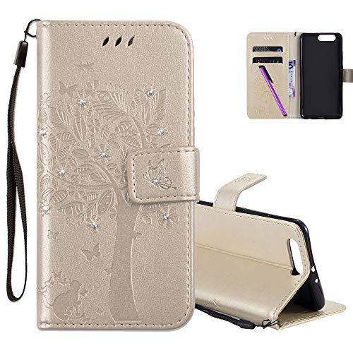 COTDINFOR Huawei P10 Plus Case Premium PU Custodia in Pelle Cash Pocket Flip Custodia a Portafoglio Chiusa con Slot per Carta di Credito per Huawei P10 Plus Gold Wishing Tree with Diamond KT.