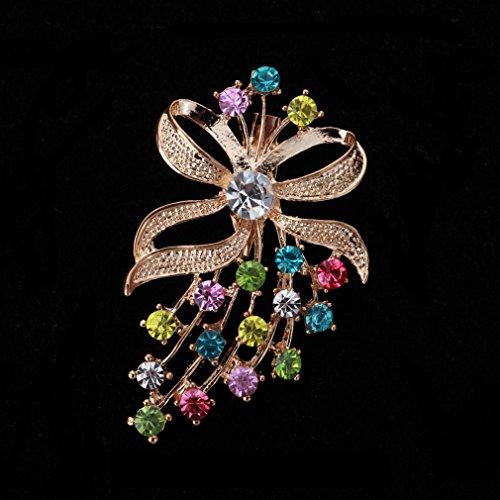 YAZILIND Bijou El'gant Femme Broche Breastpin Noeud-Papillion Strass Pour Mariage Plaqu' Or Et Mutlicolored