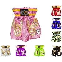 Pantalones cortos de entrenamiento Thai y Kickboxing para niños, entrenamiento, boxeo, MMA, RingMaster UK., Infantil, color rosa, tamaño XS