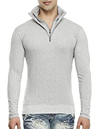Tees Collection Men's Half Double Zip Flap Collar Full Sleeve Grey Colour T-shirt