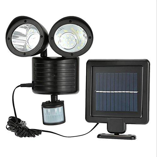XYDM Lichterkette von Sicherheit Solar Solar Bewegung Sensor Outdoor Doppel Kopf Reflektor Sonnenkollektoren 180° einstellbar Wasserdicht Lichter Wand Solar für Garten Allee-(22LED) -