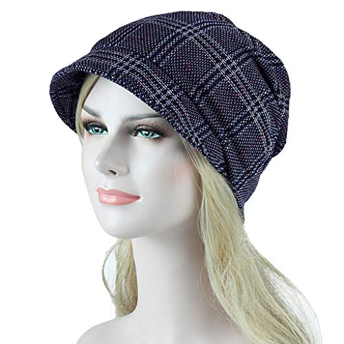 Women es Bucket Hat Casual Stylish Checkered Pattern Breathable Hat Slouchy Beanie Hat Slouchy Knit Visor,C Chunky Knit Visor Beanie