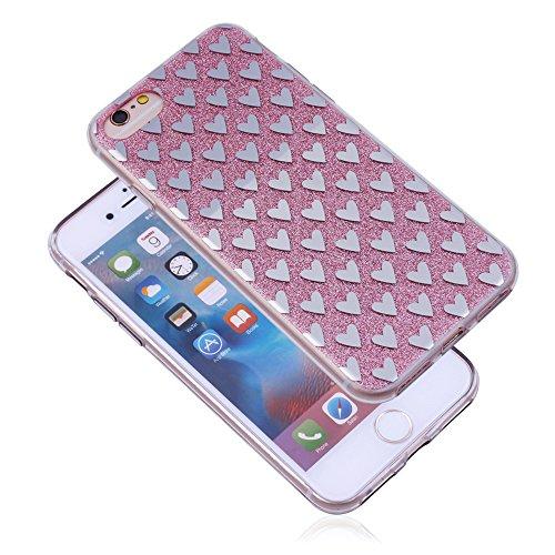 iProtect Apple iPhone 7 TPU Hardcase Schutzhülle mit Glitzerlackierung und silbernen Sternen in Rosa Herzen Rosa