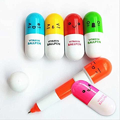 6pcs Mignon Emoji Télescopique Stylo à Bille Mini Visage Souriant Crayons Stylo Contractile Coloré Vitamin