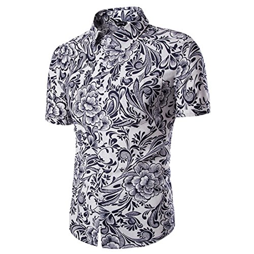 Men's Lapel Flower Printed Short Sleeved Slim Fit Casual Shirts white