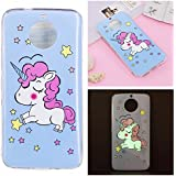 Coque Moto G5S, BONROY® Licorne Bleue Motif Mode Night Etui Coque Housse Luminous Effect Noctilucent Green Glow in the Dark Ultra Mince Soft Rubber Souple TPU Silicone Case Cover Anti-scratch Anti Choc Flexible Bumper Protective Cover Skin Shell Pour Moto G5S