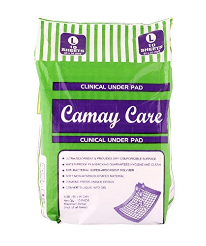 CAMAY Underpad disposable sheets - Large ( 60 x 90 cm, pack of 10)