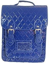 Sac à dos satchel de style verni brillant Sac en cuir simili bleu