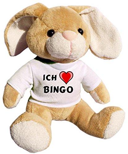 SHOPZEUS Plüsch Hase mit T-Shirt mit Aufschrift Ich Liebe Bingo (Vorname/Zuname/Spitzname)