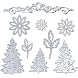 Kabi 9pcs Metal Cutting Dies with Flowers Leaves Pine Trees Crown Lace Stencil Set, Embossing Die Cuts for DIY Scrapbook Album Craft Decorations Card Making