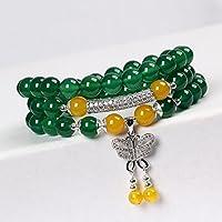 OMZBM Natürliche Grüne Achat-Edelstein-Armband-Runde Korn-Multilayer S925 Sterlingsilber-Schmetterlings-Hängende Halsketten-Doppelnutzung Für Frauen-Handgemachten Schmuck