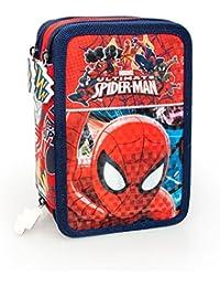 Marvel Spiderman 40224 Estuche 3 bisagras, plumier Triple, 44 Piezas