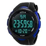 Moonuy Luxury Men Analog Digital Military Army Sport LED Waterproof Wrist Watch (Blue)