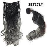 55,9cm (56cm) 130g Couleur Noir pour 2-tones Gris Ombre Extensions cheveux bouclés à clip/Set de 7Pièces pour une tête entière