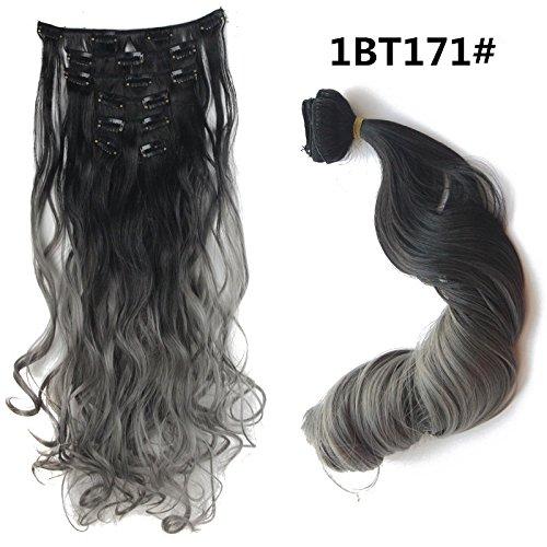 55,9cm (56cm) 130g schwarz zu grau 2-tones Ombre Farbe Gelockt Clip in Hair Extensions 7Stück/Set für einen vollen Kopf