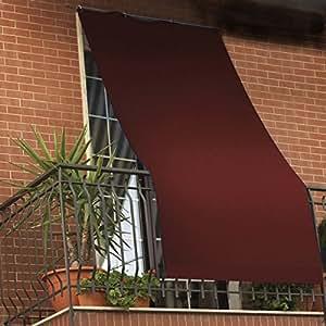 Tenda da sole per esterno tinta unita con anelli per balcone, terrazzo, casa - Cm 150x250 - Marrone