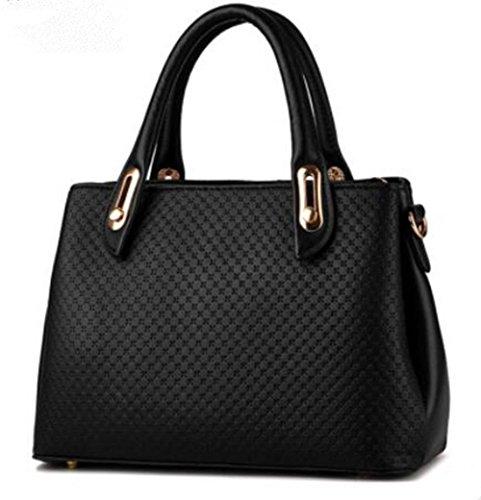 LDMB Damen-handtaschen PU Leder Stereotypen überqueren Körper einfarbig weibliche Schulter Messenger Tasche Black