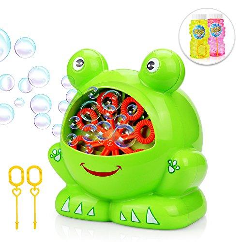 Baztoy Seifenblasenmaschine mit 2 Flüssigkeit für Kinder Junge Mädchen Seifenblasen Spielzeug Automatische Bubble Machine Maker Kinderspielzeug Outdoor Indoor Geschenk Spiele für Garten Party Hochzeit