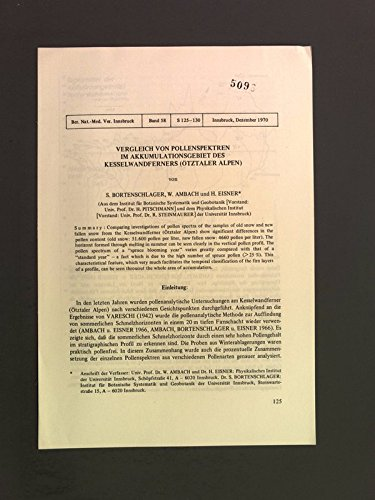 Vergleich von pollenspektren im Akkumulationsgebiet des Kesselwandferners (Oetztaler Alpen). Ber. Nat.-Med. Ver. Innsbruck 58.
