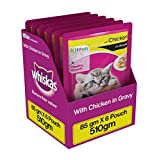 #3: Whiskas Wet Meal Kitten Food, Chicken in Gravy, 85 g (Pack of 6)