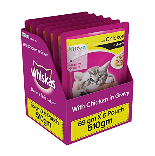 Whiskas Wet Meal Kitten Food, Chicken In Gravy, 85 G (Pack Of 6)