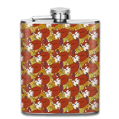 Stainless Steel Hip Flask 7 Oz (No Funnel) Fox Rest On Leaf Full Printed