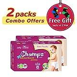 #10: Premium Champs High Absorbent Premium Pant Style Diaper (Pack of 2)(Free 2-Pair Socks)| Premium Pant Diapers | Premium Diapers | Premium Baby Diapers | anti-rash and anti-bacterial diaper | (Large, 34) …