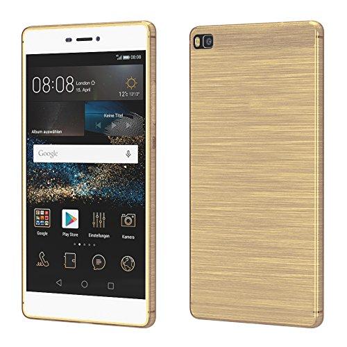 Brushed Cover für Huawei P8 Schutz Hülle TPU Case Schutzhülle Silikon Cover Tasche in Gold
