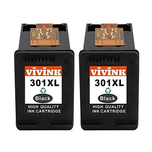 VIVINK 2X Schwarz kompatibel zu HP 301XL für DeskJet 1000 1050 1050A 1050S 1055 2000 2050 2050A 2050S 2050se 2054A 2510 2540 3000 3010 3050 3050A 3050S 3050se 3050ve 3052A 3054A 3055A hohe Kapazität