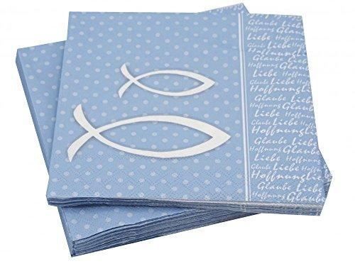 20 Servietten Glaube Motiv Fisch Blau Grün Bibelspruch Tischdeko Kommunion Konfirmation, Farbe:Hellblau