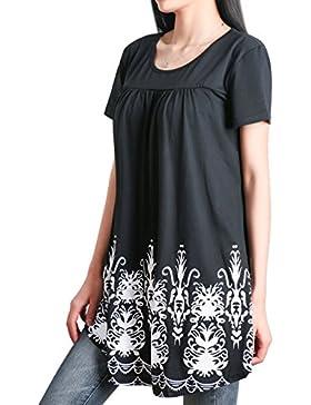 DSUK Mujer Cuello Redondo Manga Corta Casuales Florales Plisado Ajuste Holgado Túnica Tapas Vestido