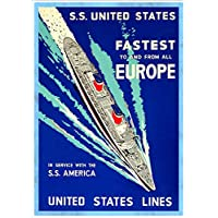 """""""United States Lines - The S.S. United States"""" A4 Glossy Vintage Cruise Line Poster Art Print"""