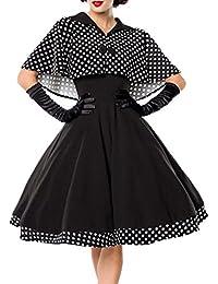 Schwarzes Knielanges Swing Kleid im High Waist Schnitt mit Cape und  Abnehmbar gepunktet und Umlegekragen… 56ec4ba330