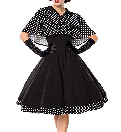 Schwarzes knielanges Swing Kleid im High Waist Schnitt mit Cape und abnehmbar gepunktet und Umlegekragen bandeau XXXL