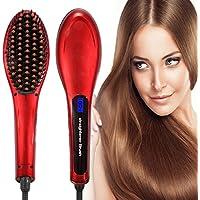 Besmall LCD Peigne Défriser les Cheveux Brosse Démêlant(Rouge)