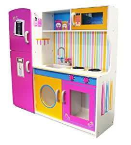 Leomark Large Deluxe Pink Toy Kids Wooden Kitchen With