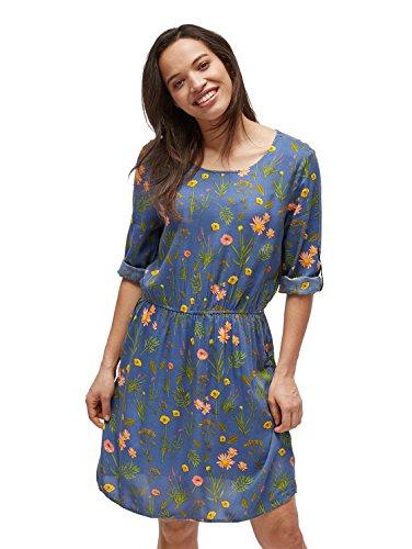 TOM TAILOR für Frauen Kleider & Jumpsuits Gemustertes Kleid mit Turn-Ups Celestial Blue, 40