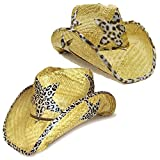 Modestone Value Pack 2 X Light Party Star Animal Print Straw Sombrero Vaqueros Beige