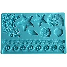 Decdeal - DIY Molde de Silicona para Tarta de Fondant de Conchas, Estrellas de Mar