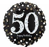 Preis am Stiel Folienballon Sparkling 50. Geburtstag | Größe: ca. 46 cm | Heliumballon | mit Helium Füllung