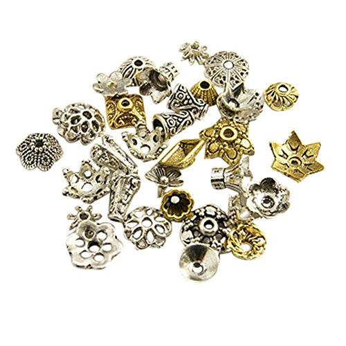 nbeads 500g Tibetan Style gemischt Form Blume Perlen Kappen für Schmuckherstellung, Größe: über 8~ 20mm im Durchmesser, 3~ 8mm dick, Loch: 0,5~ 2mm, Legierung