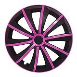 (Größe wählbar) 16 Zoll Radkappen / Radzierblenden GRALO MATT (Schwarz-Pink) passend für fast alle Fahrzeugtypen – universal