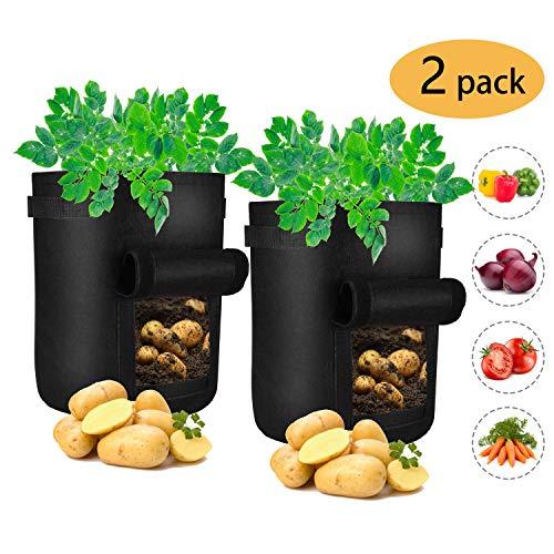 offel Pflanzbeutel,7 Gallonen Pflanztasche mit Sichtfenster und Griffen, Vliestopfbehälter für Kartoffeln, Karotten, Tomaten, etc. ()