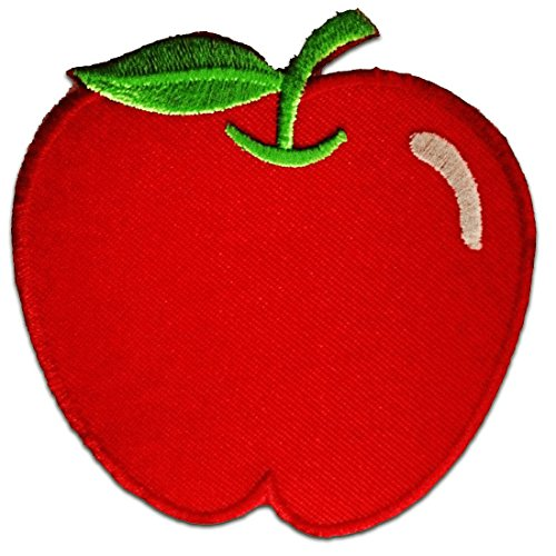 Apfel Apple Fitness Kinder Patch ''7,5 x 8 cm'' - Aufnäher Aufbügler Applikation Applique Bügelbilder Flicken Embroidered Iron on Patches (Gestickt Apple)