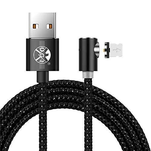 Ugi® L Cable Carga de iPhone USB C Tipo magnético C Cable de iluminación Ángulo Recto 3,3ft/6,6ft/10ft pantalla LED Para iPhone X,8,7,6 Plus Samsung Galaxy S7,S8,9 Dispositivo Android Lote (Cable Lightning 6ft)