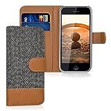 kwmobile Coque Apple iPhone 5C portefeuille - Étui à rabat simili cuir pour Apple iPhone 5C avec compartiment cartes support