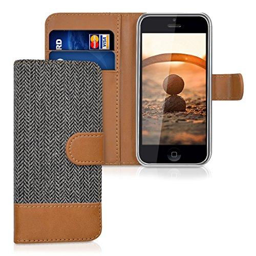 kwmobile Funda para Apple iPhone 5C - Carcasa de tela y [cuero sintético] - Con tapa y [tarjetero]...